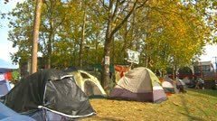 Protest, Occupy (Wall-Street) Seattle tent camp and signs Stock Footage