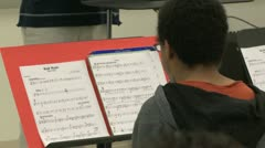 Students reading sheet music in class (8 of 9) Stock Footage