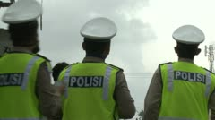 Police Watch Volcano During Eruption Crisis Stock Footage