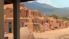 Establishing shot of the Taos pueblo, New Mexico. Stock Footage