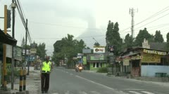 Policeman Wears Gas Mask During Merapi Volcano Eruption Crisis Indonesia Stock Footage