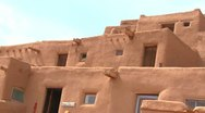 Stock Video Footage of Adobe buildings at the Taos pueblo, New Mexico.