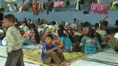 Refugees At Evacuation Center During Merapi Volcano Crisis Stock Footage