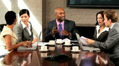 News of Success for Multi Ethnic Business Team Stock Footage