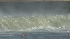 P01763 Water Going Over Dam Stock Footage