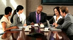 Boardroom Meeting of Multi Ethnic Business Team Stock Footage