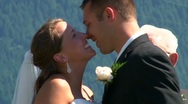 Kissing the Bride in Slow Motion Stock Footage