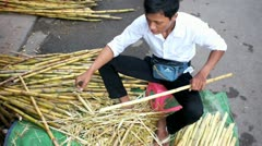 CAMBODIA-MARKET-SUGARCANE-SELLER Stock Footage