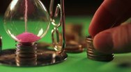 Green Screen - Time is money concept - hourglass and coins Stock Footage