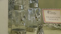 Antique salt and pepper shaker Stock Footage