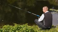 Intelligent fishing (HD NTSC) Stock Footage