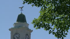 Clock tower with weather vane on top of it - stock footage