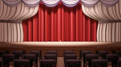Opening red theatrical curtain Stock Footage