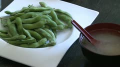 Snap peas and miso soup Stock Footage