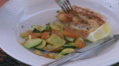Eating fish a a Bistro (2 of 3) Stock Footage