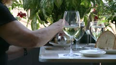 Eating bread with wine at a Bistro Stock Footage