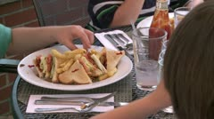 Club sandwich at a Bistro (1 of 4) Stock Footage