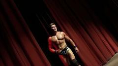Pro wrestler entrance through curtains - stock footage