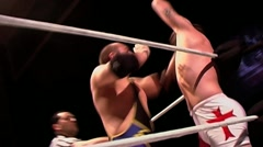 Wrestling match - aggression, slaps & punches, fighting - stock footage