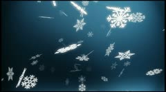 Loopable blue winter background - falling snow - stock footage