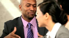 Multi Ethnic Business Team Receiving Congratulations - stock footage