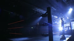 Professional Wrestling Ring & Dramatic Blue Stage Lighting, Wide Angle HD Stock Footage