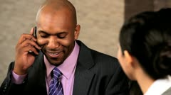 Multi Ethnic Business Group Hearing Good News - stock footage