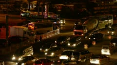 Many cars on road,traffic jam at night,crossroads,junctions. Stock Footage