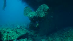 Wreck Hebat Allah. Shot of the propeller Stock Footage