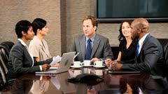 Ambitious Multi Ethnic Business Team in Boardroom Stock Footage