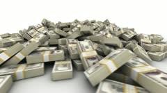 Hundred Dollar Bill Pile - stock footage