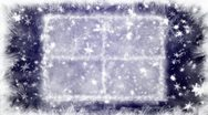 Christmas snow-covered window and falling snowflakes Stock Footage