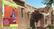 Stock Video Footage of Exterior of a museum building in Santa Fe, New Mexico.
