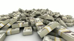 Hundred Dollar Bill Pile Stock Footage