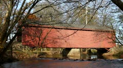 Covered Bridge Over Creek Stock Footage