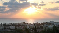 Pafos City Sunset, Cyprus Stock Footage