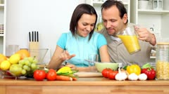 Happy couple enjoy romantic breakfast in kitchen Stock Footage