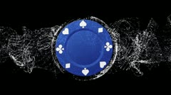 Poker Chip Blue Background 3 - HD1080 Stock Footage