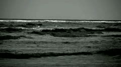 Slow Motion Ocean Waves in Black and White Stock Footage