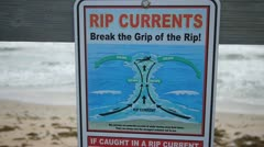 Rip Current Warning sign in Florida Stock Footage