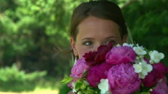 Bride Smiling with Flower Bouquet - stock footage