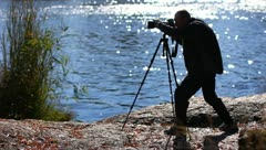 The working wild nature photographer Stock Footage