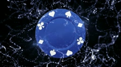 Poker Chip Blue Background 6 - HD1080 Stock Footage