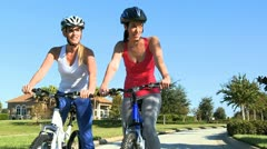 Female Friends Cycling Fitness Stock Footage