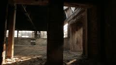 Old brick factory interior Stock Footage