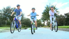 Family Healthy Cycling Fitness Stock Footage