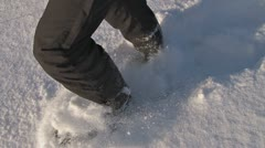 Snowshoe Walking in Fresh Powder Stock Footage
