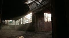 Old brick factory interior _3 - stock footage