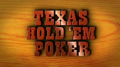 Texas Hold 'em Poker Text and Wood - HD1080 Stock Footage