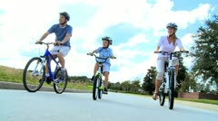 Healthy Caucasian Family Bike Riding Together Stock Footage